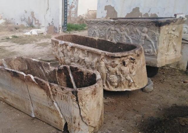Police seize three Roman sarcophagi in Tunisia