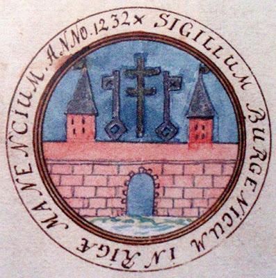 Цветная прорисовка той же печати по книге Йохана Андреаса Эзена (Latvijas valsts arhivu generaldirekcija)
