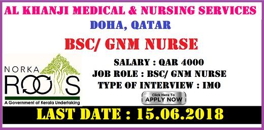 BSc / GNM NURSE FOR QATAR - AL KHANJI MEDICAL & NURSING SERVICES