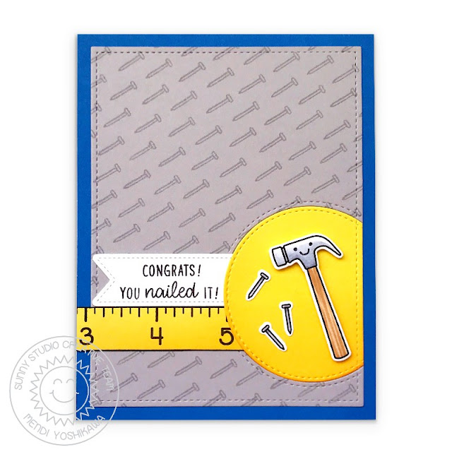 Sunny Studio Blog: Tool Time Congrats!  You Nailed It!  Punny Congratulations Card (using Tool Time & School Time Stamps, Stitched Semi-Circle Die, Fancy Frames Rectangle Dies & Frilly Frames Retro Petals Dies)