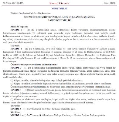 Türkiye Cumhuriyeti Merkez Bankası Tarafından Açıklanan Kripto Varlıklara İlişkin Yönetmelik Nedir? Kripto Varlık İşlemleri Yasaklandı mı?