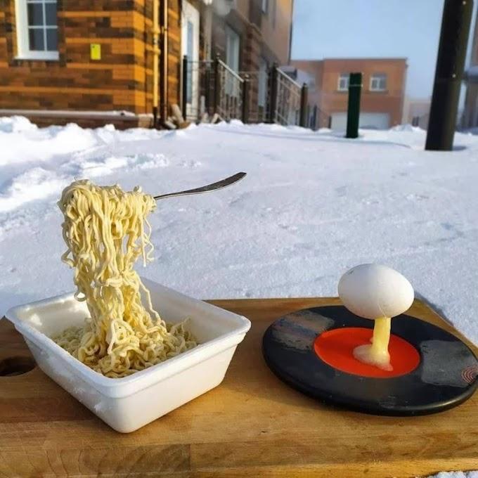 ロシア🇷🇺シベリアのノヴォシビルスクは焼きそばを食べることもできない極寒のマイナス45度だそうです🥶