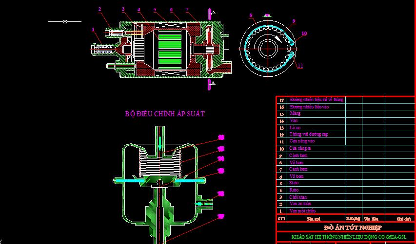 bản vẽ khảo sát hệ thống nhiên liệu động cơ G6EA-GSL2.7