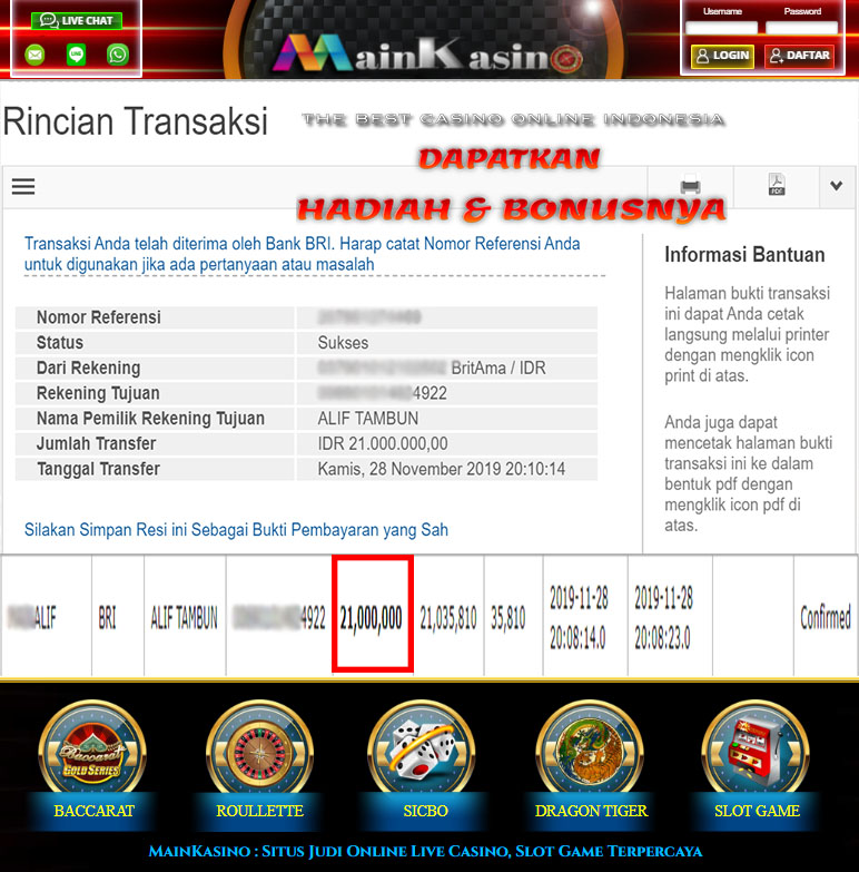 Selamat Kepada Member Setia MAIN KASINO Withdraw RP 21.000.000