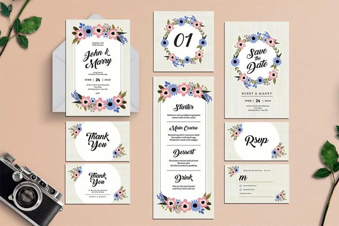 Floral Wedding Invitation Suite AI & PSD Bundle Set