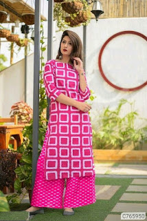 Colorful Cotton Printed Straight Palazzo Sets