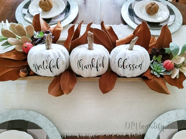 decorating a table for Fall