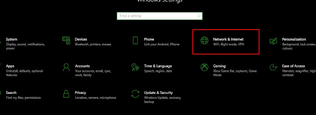 Network and internet settings on windows 10