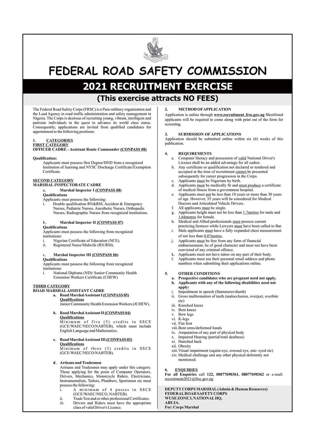 FRSC Recruitment Exercise Guidelines 2021/2022 [Free of Charge]
