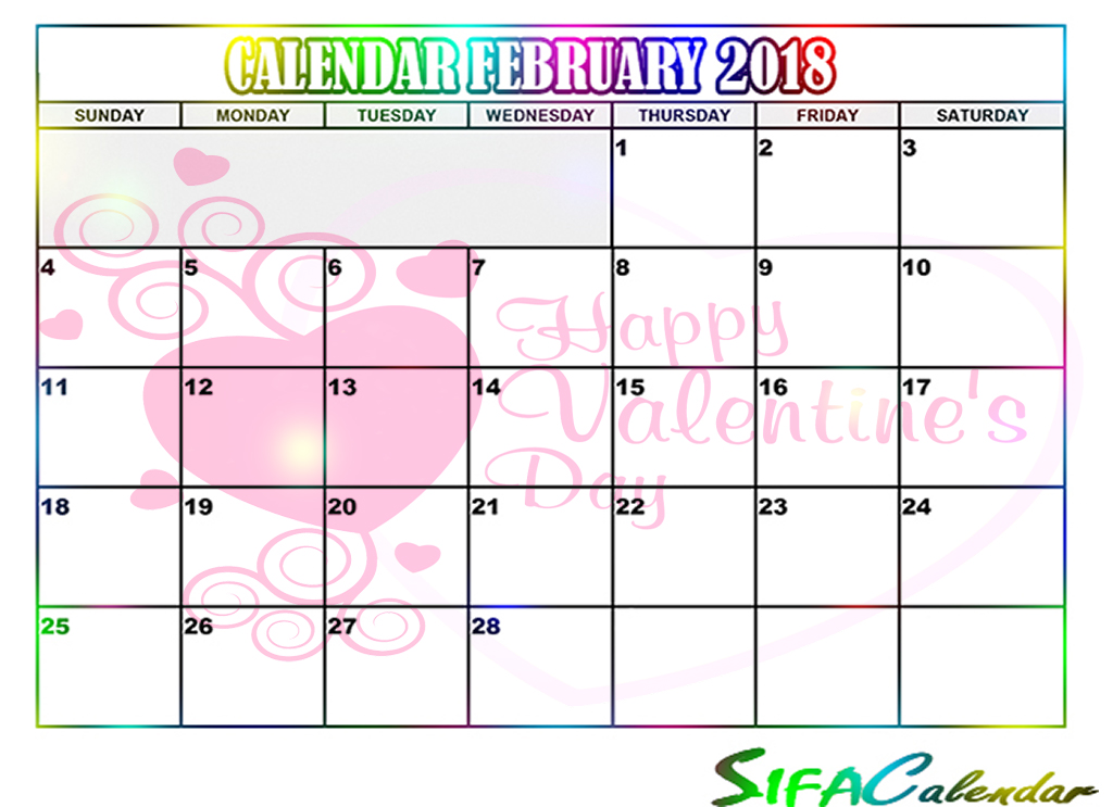 february 2018 calendar( online calendar maker ) - Sifacalender