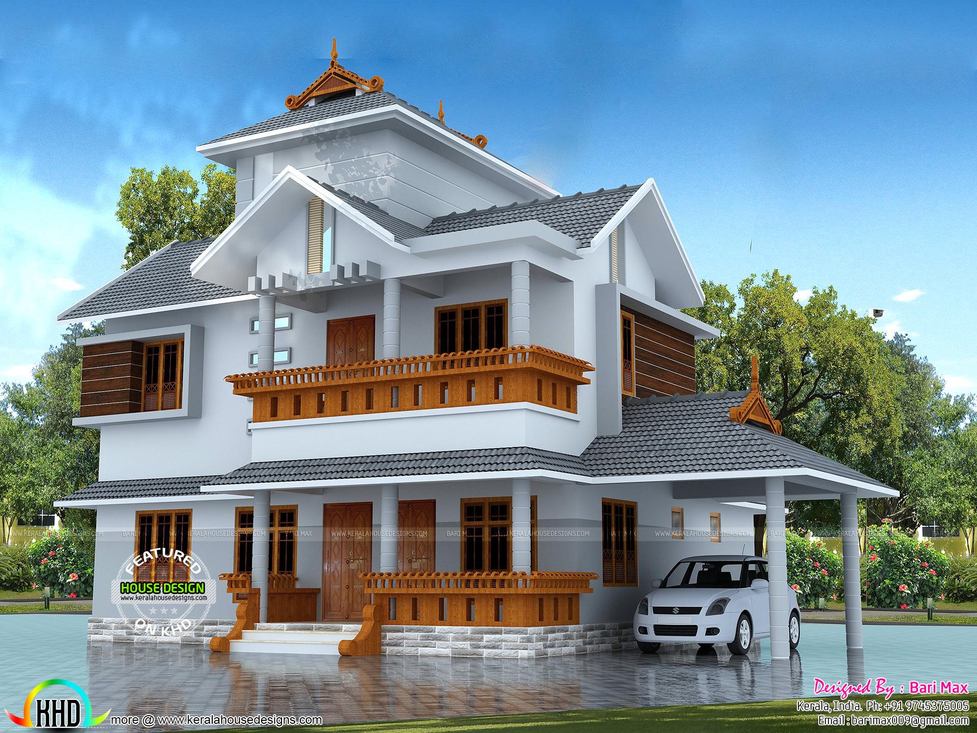 N Bungalow Elevation Plan Roof : Sq ft bedroom modern sloping roof house kerala