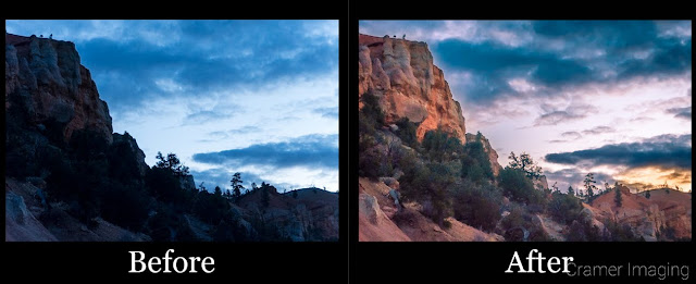 Comparison of a before and after for a promising landscape photo which didn't work out as hoped