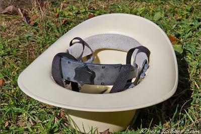 rear of khaki coybly helmet