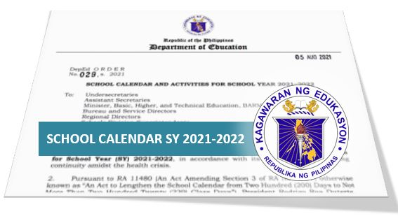 DepEd releases school calendar for SY 2021-2022