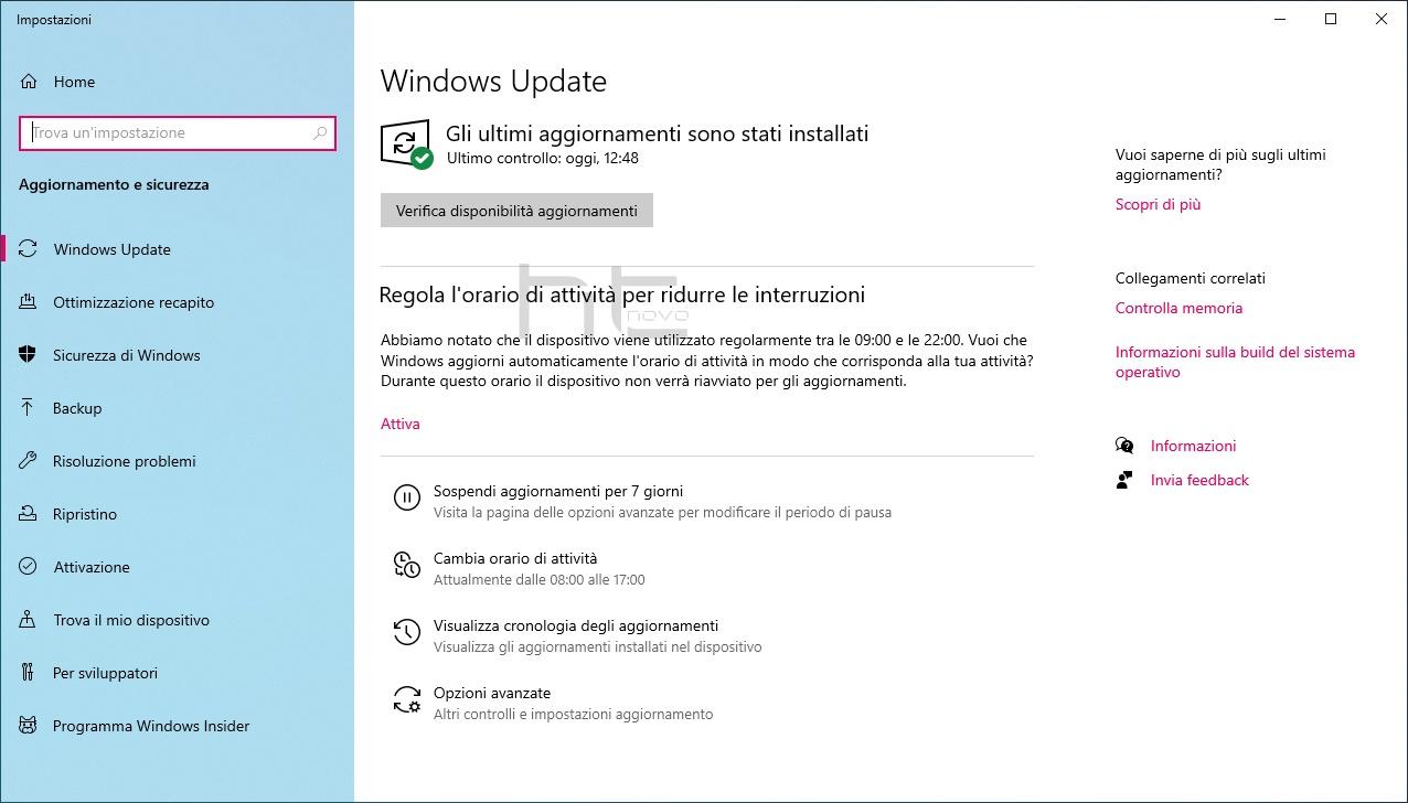 Regola l'orario di attività abilitato in Windows 10 versione 2004