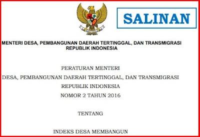 Peraturan Menteri Desa Pembangunan Daerah Tertinggal dan Transmigrasi Nomor  2 Tahun 2016 tentang Indeks Desa Membangun