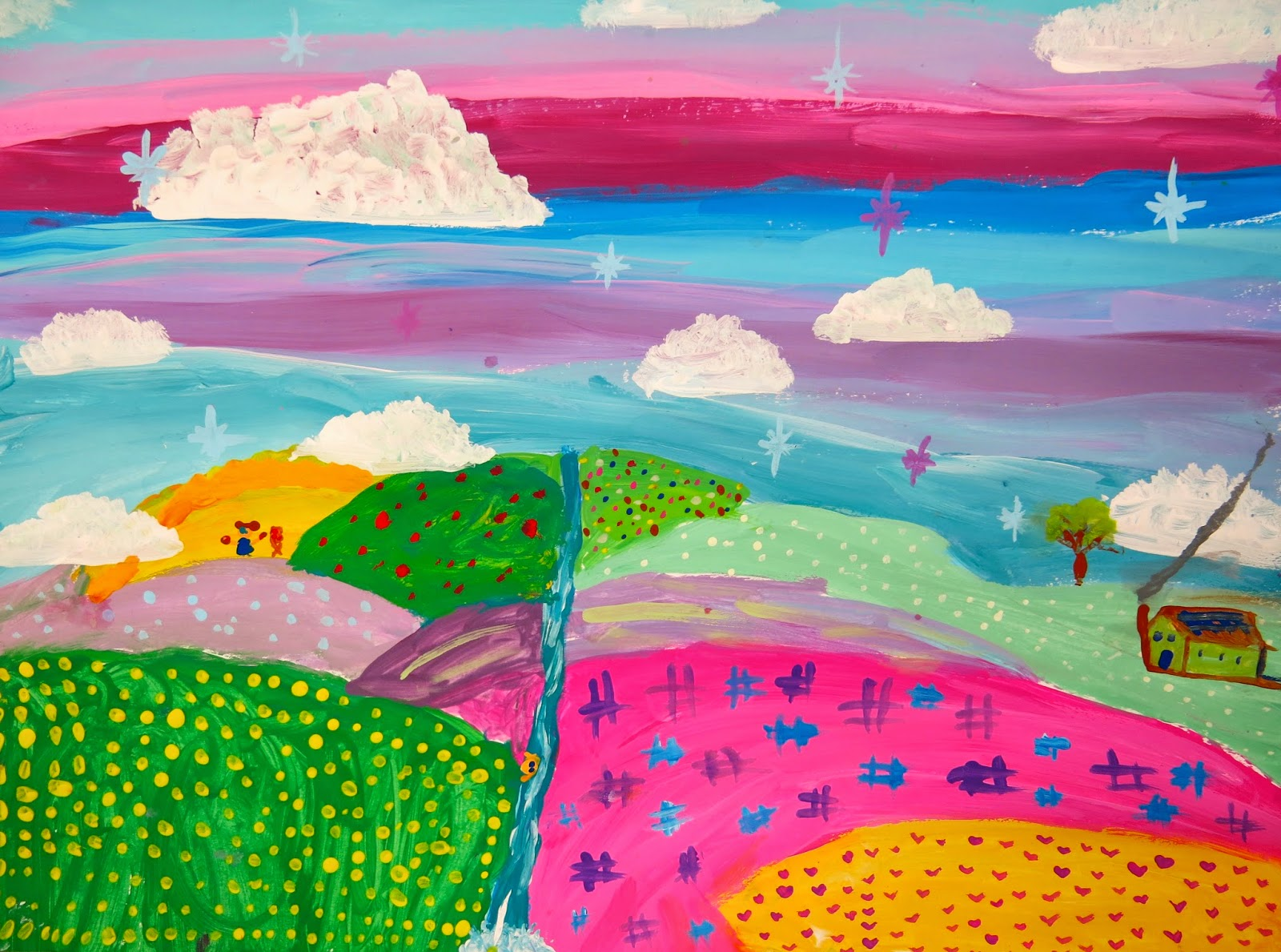 Cassie Stephens: In the Art Room: Fourth Grade Color-Mixing Landscapes