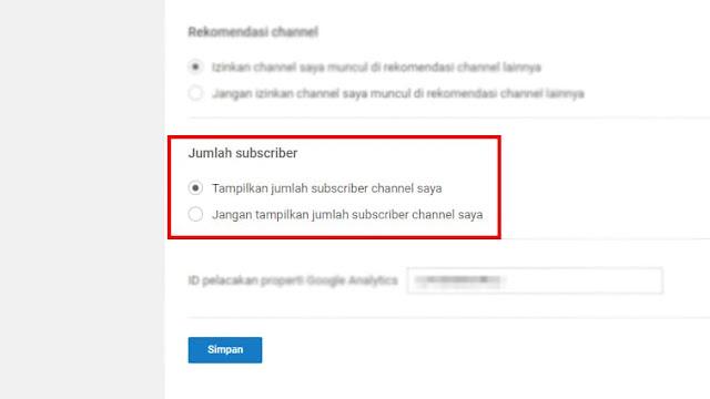Jangan tampilkan jumlah subscriber channel saya