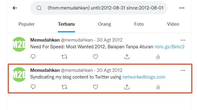 Twit pertama M2D