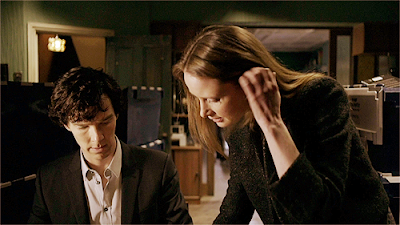 Benedict Cumberbatch and Zoe Telford as Sherlock Holmes and Sarah in BBC Sherlock Season 1 Episode 2 The Blind Banker