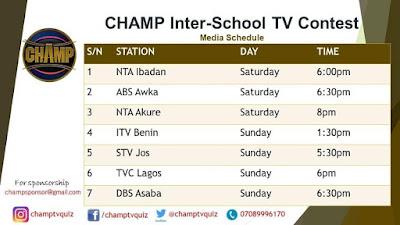 CHAMP Inter-School TV Contest Media Schedule 2019/2020