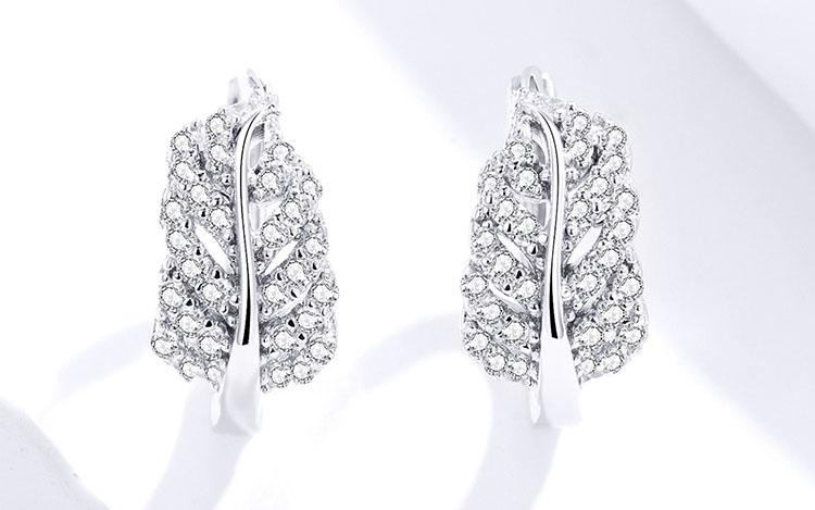 羽葉 925純銀鋯石耳環