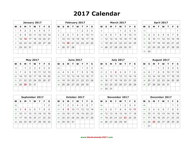 2017 Holiday Calendar