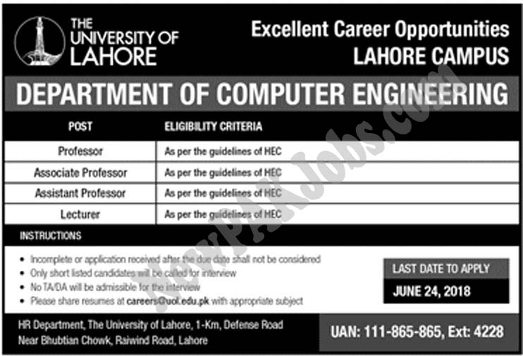 UOL Latest Jobs University of Lahore for Computer Engineers 2018 | uol.edu.pk