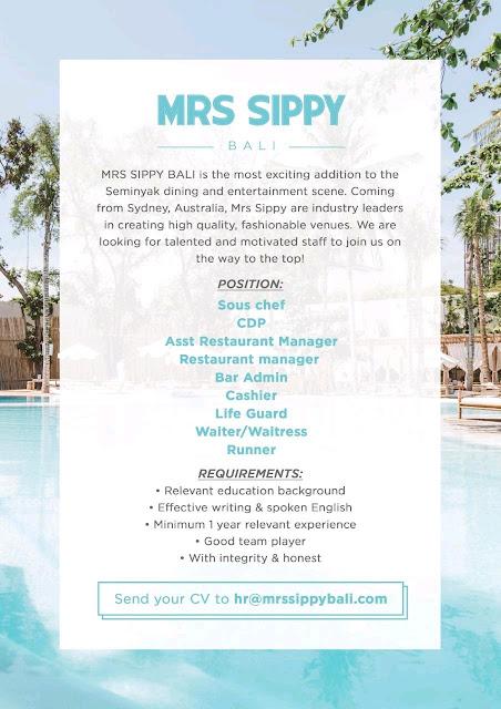 Lowongan kerja Mrs Sippy Bali 2020