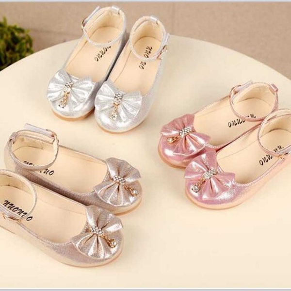 baby princess bowknot sneakers pearl diamond single shoes Kids dance shoes