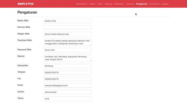 Halaman Module Pengaturan Aplikasi Simple POS