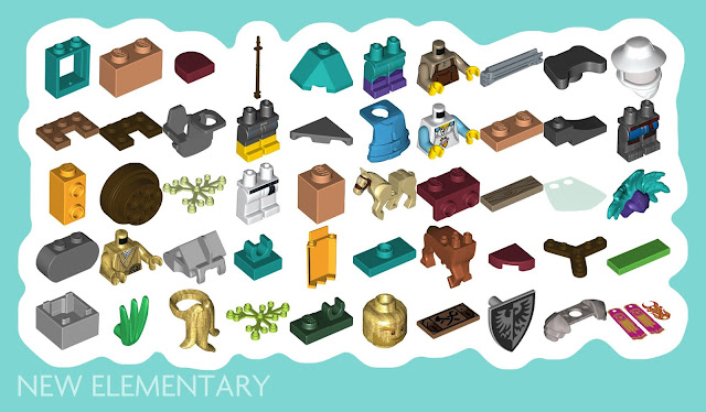 50 LEGO elements that are new for February 2021 including printed and minifigure parts
