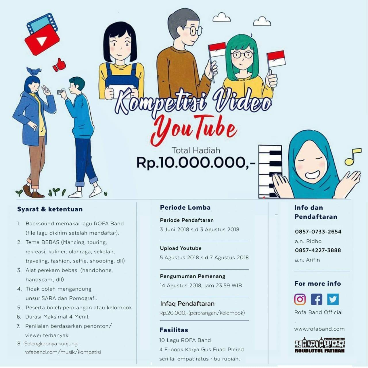 Kompetisi Video Youtube 2018, Hadiah 10 Jt