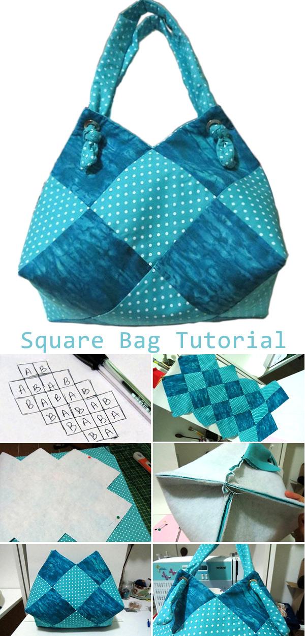 Beautiful bag - a sack of squares. Tutorial