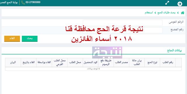 نتيجة قرعة الحج محافظة قنا 2018 أسماء الفائزين