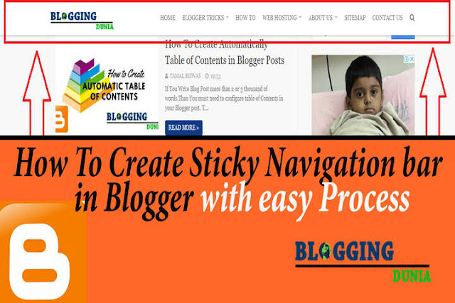 How To Create Sticky Navigation Bar in Blogger