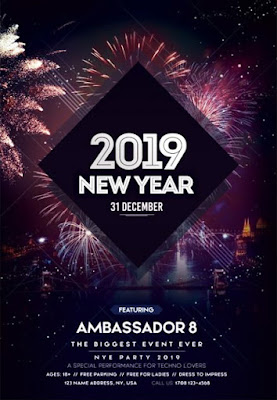 New Year 2019 PSD Flyer Template