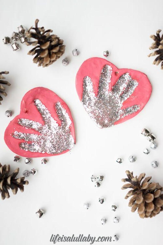glitter salt dough handprint ornament