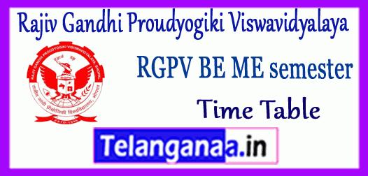 RGPV Rajiv Gandhi Proudyogiki Viswavidyalaya BE ME 1st 3rd 5th 7th Semester Time Table