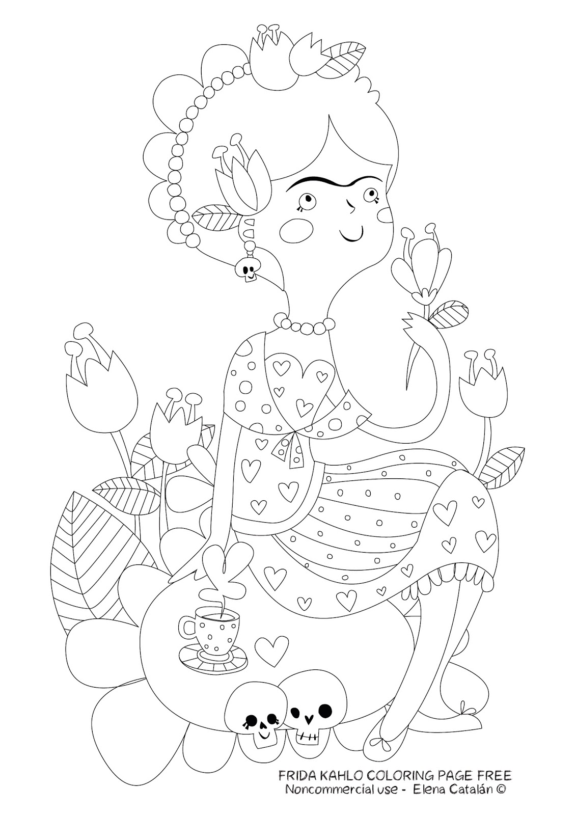 Coso de Ilustradores: FRIDA KAHLO COLORING PAGE FREE