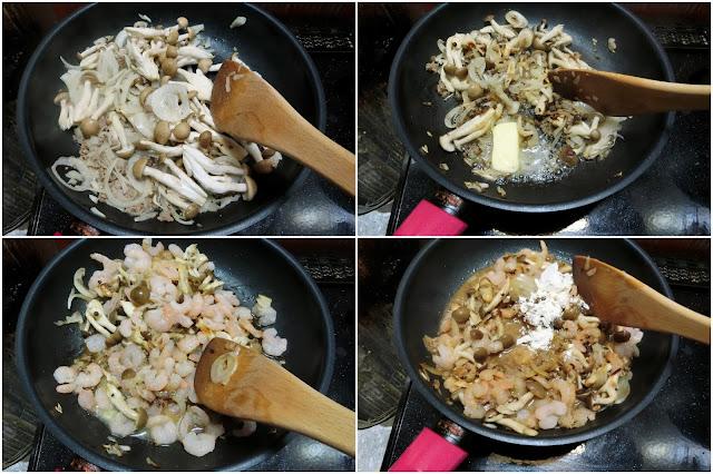 フライパンにサラダ油、玉ねぎ、しめじを入れて中火で炒めます。  玉ねぎが透明になってきたらバター、むきエビを加えて炒め合わせ、薄力粉を振るい入れて粉っぽさがなくなりまで木べらで炒め合わせます。