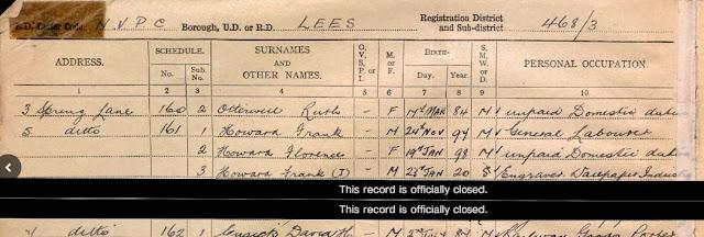 1939 National Registration - Lees, Lancashire - Florence Howard