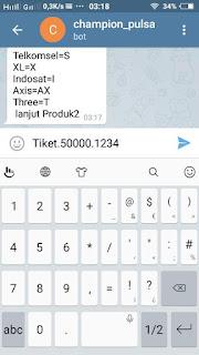 cara menggunakan telegram untuk transaksi pulsa