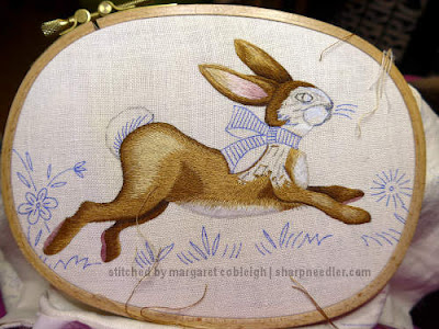 Embroidered Easter Table Runner: Bunny body nearly filled