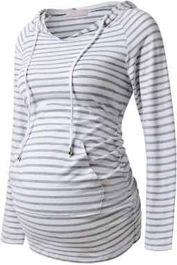 Casual Maternity Hoodie Sweatshirt Top