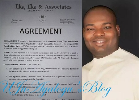 EXCLUSIVE: APC Aspirants Dr. Tony Nwoye Mortgages Anambra To Godfather, Arthur Eze; Signs Pact To Offer 10 Commissioners, 30% State's IGR ... See Document