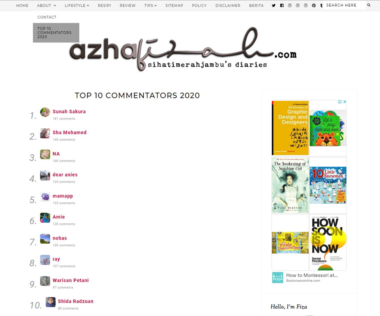 Top 10 komentator Blog Sihatimerahjambu 2020
