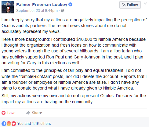 Palmer Luckey Oculus donation Nimble America Facebook post apology libertarian