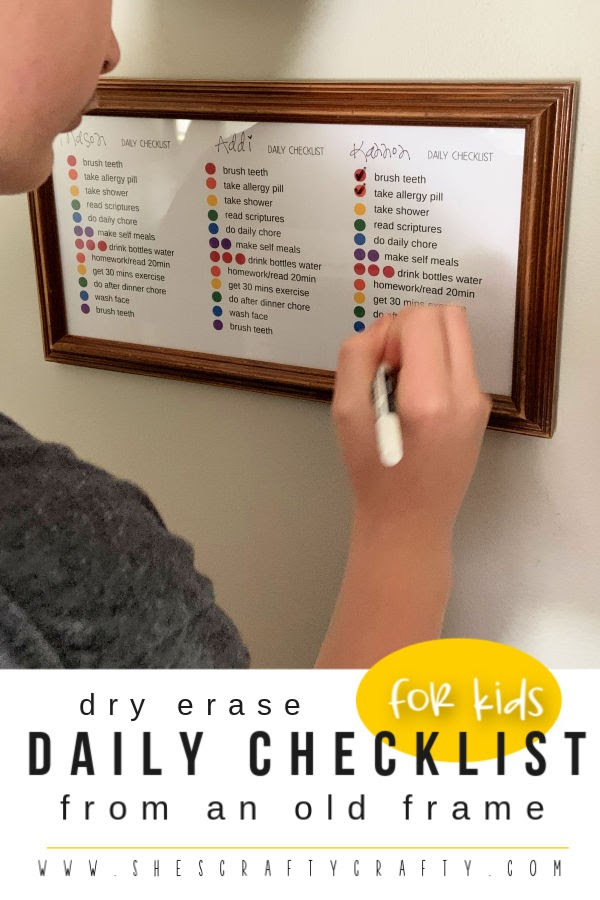 Dry Erase Daily Checklist for kids   |  Make a daily check list for your kids using an old frame  |  She's Crafty