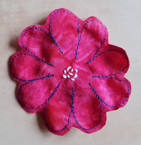 flower embroidery by hand and machine   DevotedQuilter.com